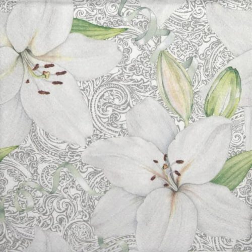 Paper Napkin - White Lily with Ribbon