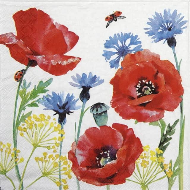 Paper Napkin - Cornflower and poppy