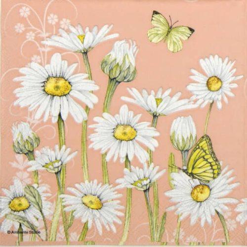 Paper Napkin - Daisy coral