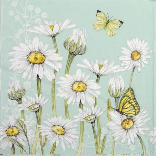 Paper Napkin - Daisy green