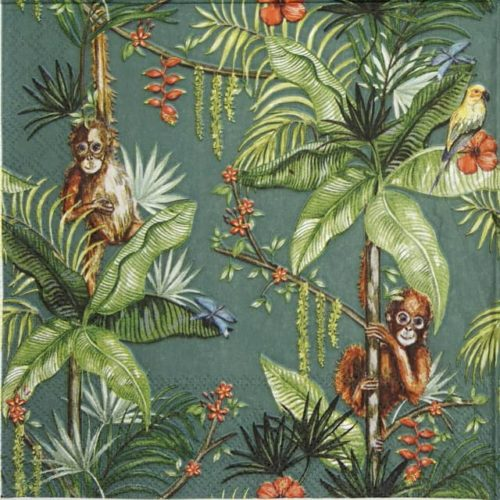 Lunch Napkins (20) - Orangutan green