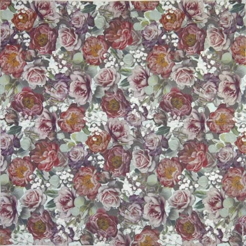 Lunch Napkins (20) - Vintage flowers green