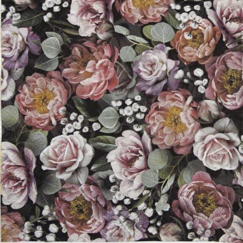 Lunch Napkins (20) - Vintage flowers black