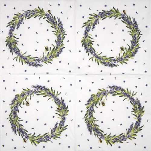 Cocktail Napkins (20) - Lavender Wreath