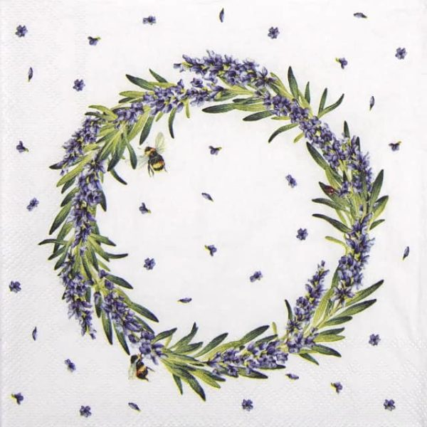 Cocktail Napkins (20) - Lavender Wreath