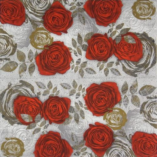 Paper Napkin - Red Roses with Floral Prints
