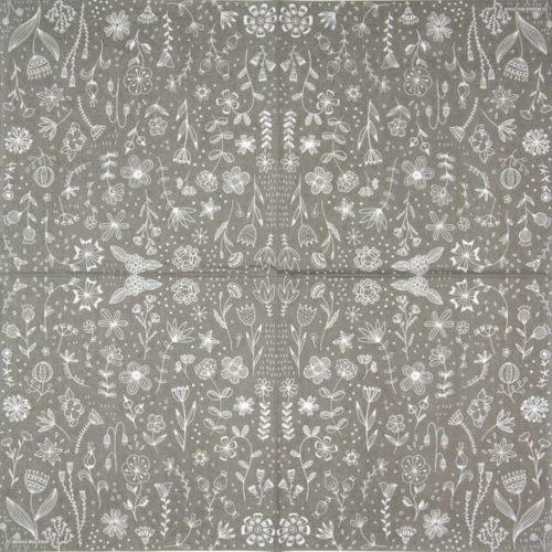 Paper Napkin -  Marina Brackhoff: Pure Flower grey