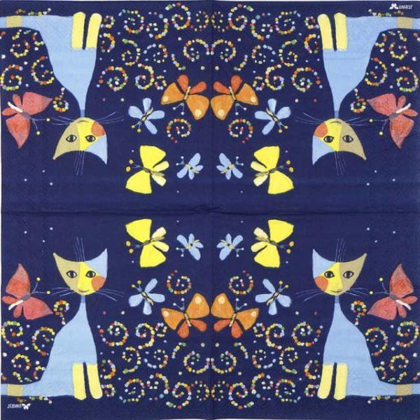 Paper Napkin - R.W. Cat Danza Delle Farfalle