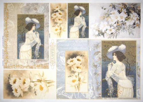 Rice Paper - Lady with flowers