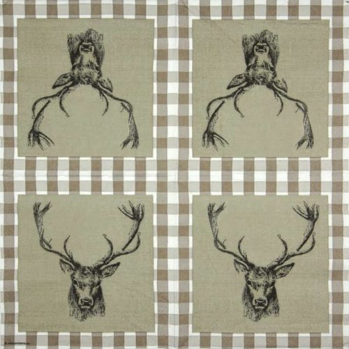 Cocktail Napkins (20) - Checked Stag Head  Brown