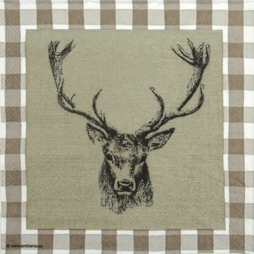 Cocktail Napkin - Checked Stag Head  Brown