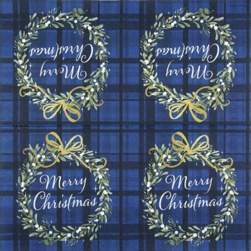 Cocktail Napkins (20) - Christmas Plaid Blue