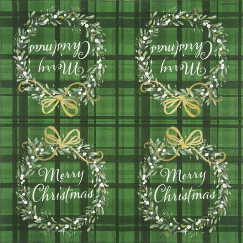 Cocktail Napkins (20) - Christmas Plaid Green
