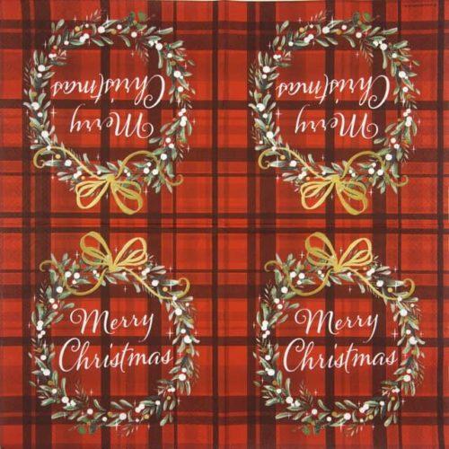 Cocktail Napkin - Christmas Plaid Red