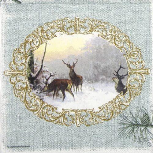 Lunch Napkins (20) - Elegant Deers Green