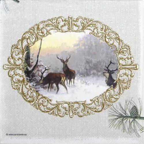 Paper Napkin - Elegant Deers Grey