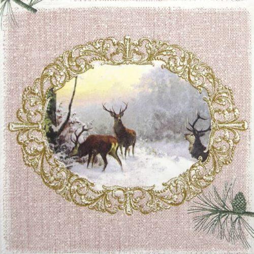 Lunch Napkins (20) - Elegant Deers Rose