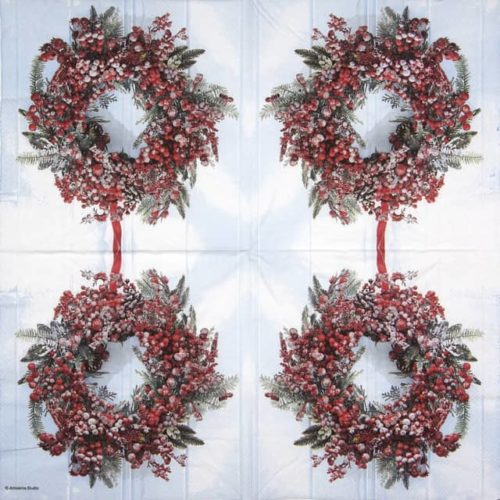 Cocktail Napkins (20) - Frozen Wreath
