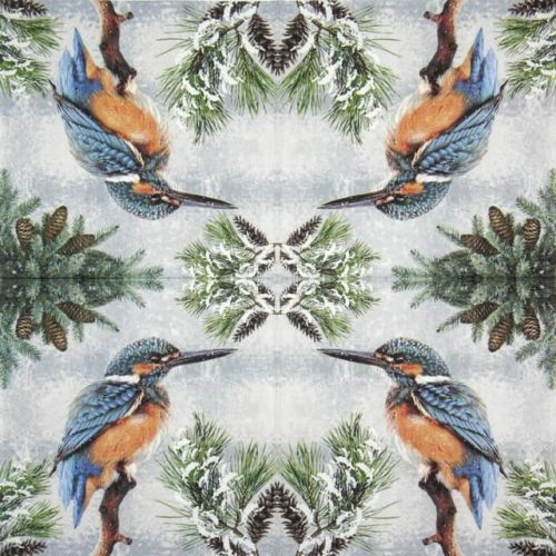 Lunch Napkins (20) - Kingfisher In Snow