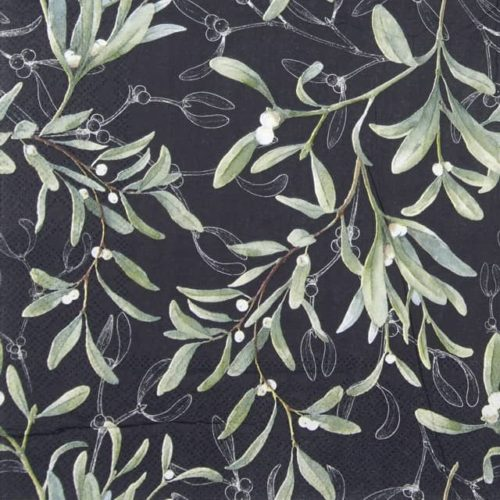 Cocktail Napkins (20) - Mistletoe All Over Black