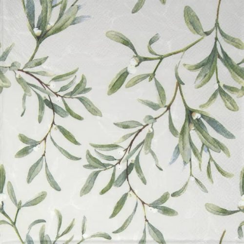 Cocktail Napkins (20) - Mistletoe All Over Grey