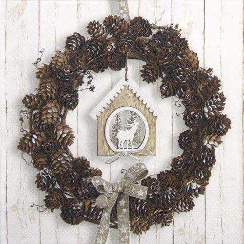 Cocktail Napkins (20) - Pine Cone Wreath
