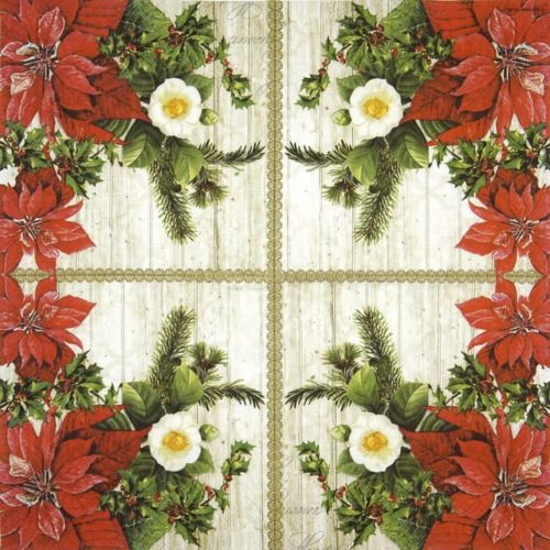 Lunch Napkins (20) - Poinsettia On Wood