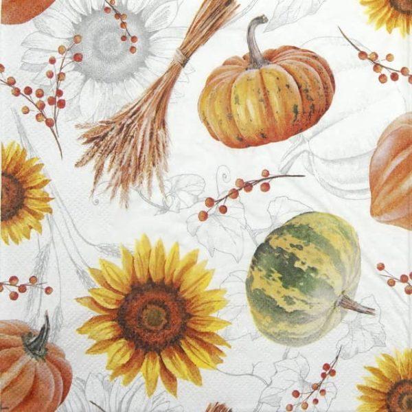 Cocktail Napkins (20) - Pumpkin  & Sunflowers