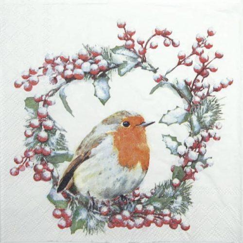 Cocktail Napkin - Robin In Wreath