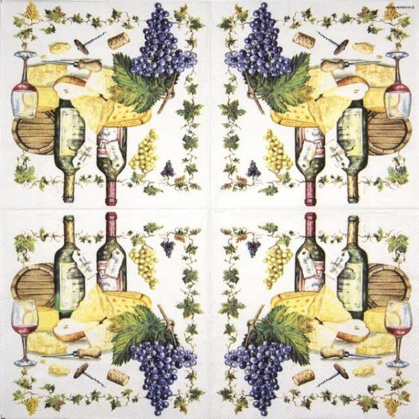 Paper Napkin - Wine And Cheese