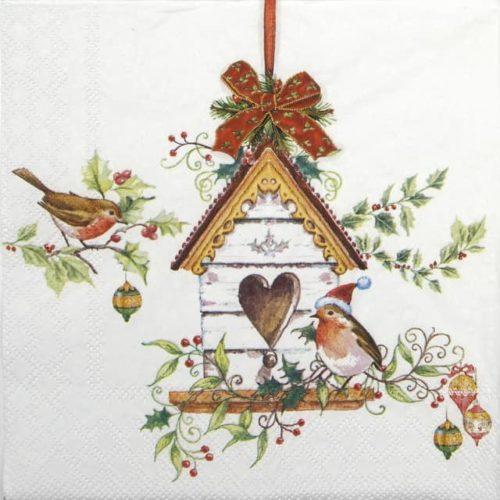Cocktail Napkins (20) - Christmas Birdhouse