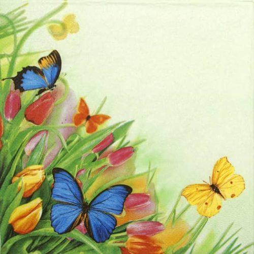Paper Napkin - Tulips & Butterflies