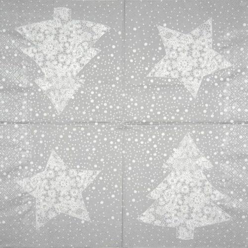 Paper Napkin - Christmas Lace silver