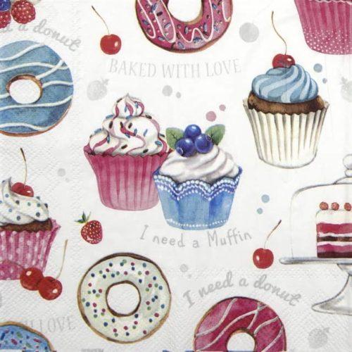 Paper Napkin - Donuts Love