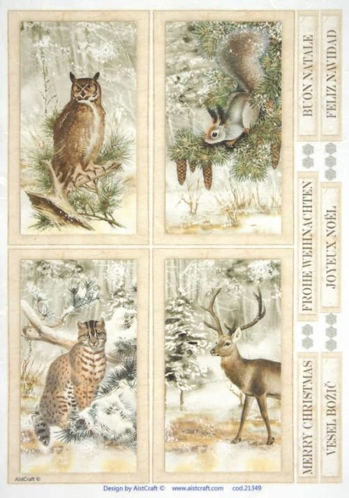 Rice Paper - Animals in forest