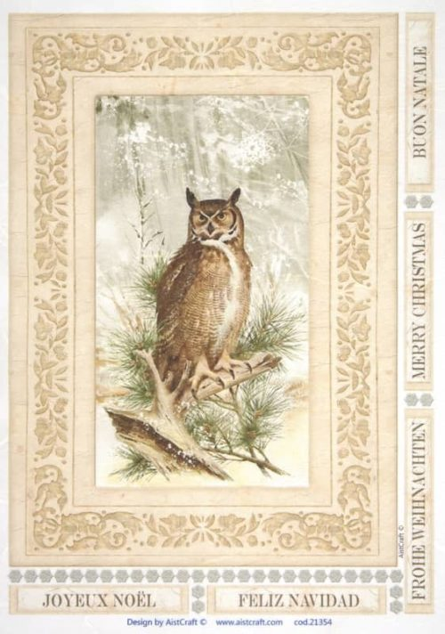 Rice Paper - Owl in forest brown