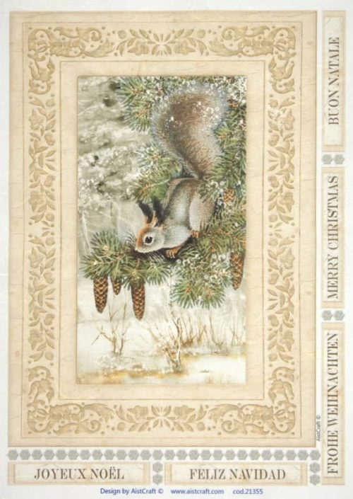 Rice Paper - Squirrel in forest brown