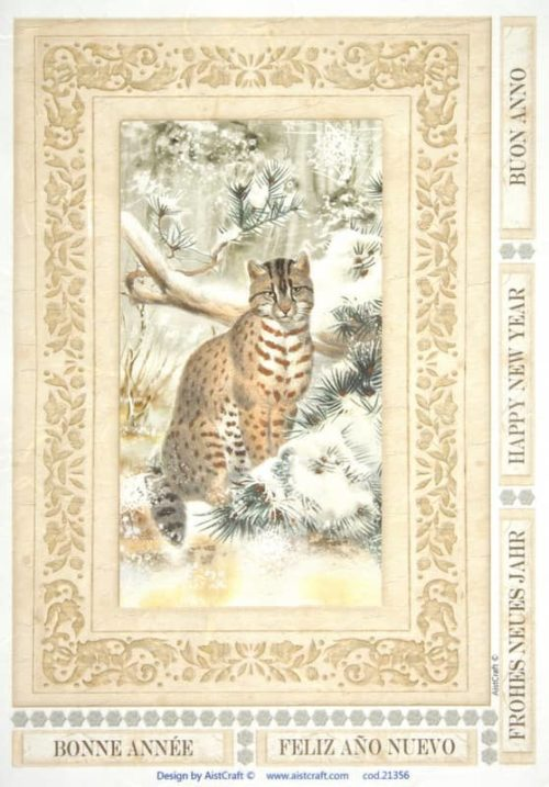 Rice Paper - Cat in forest brown