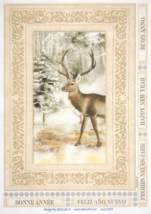 Rice Paper - Deer in forest brown
