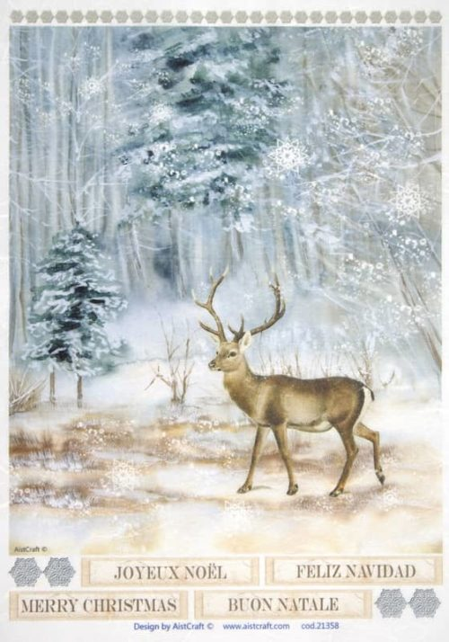 Rice Paper - Deer in forest