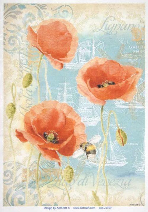 Rice Paper - Three poppies