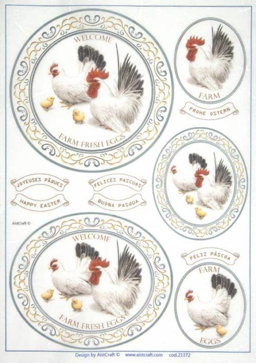 Rice Paper - White hens