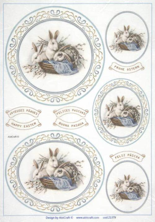 Rice Paper - White rabbits