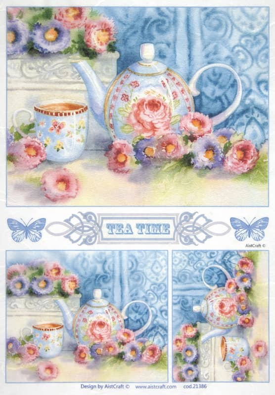 Rice Paper - Pink roses in blue kitchen