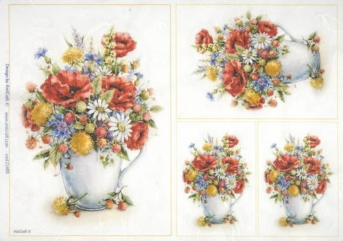 Rice Paper - Poppies in vases