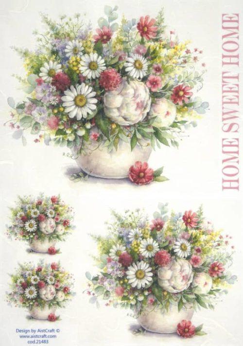 Rice Paper - Flower bouquet pink