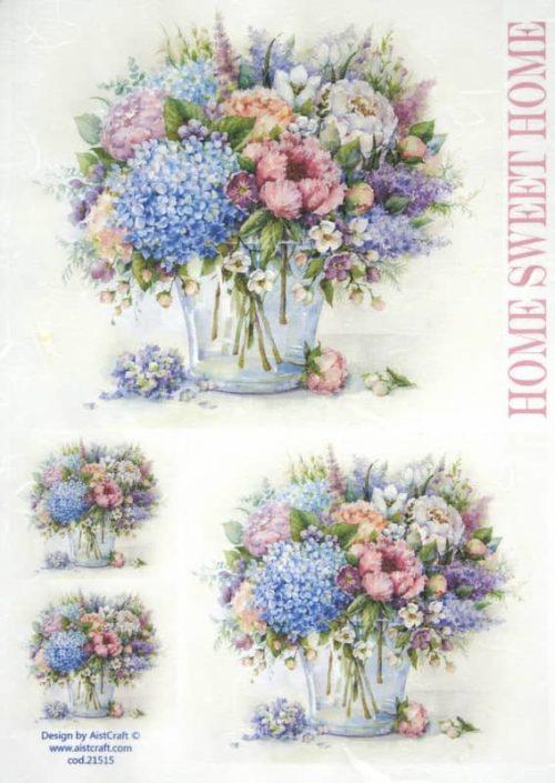Rice Paper - Flower bouquet blue