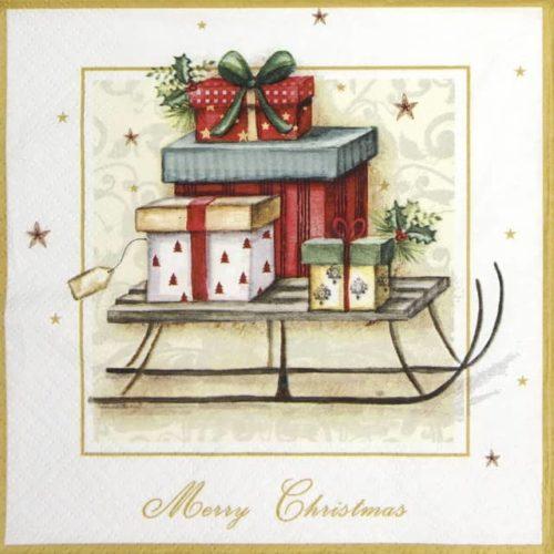 Paper Napkin - Merry Christmas Sleigh