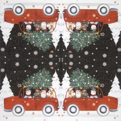 Paper Napkin - Red Christmas Car
