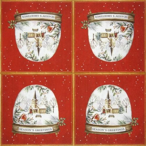 Paper Napkin - Seasons Greetings in a Snow Globe